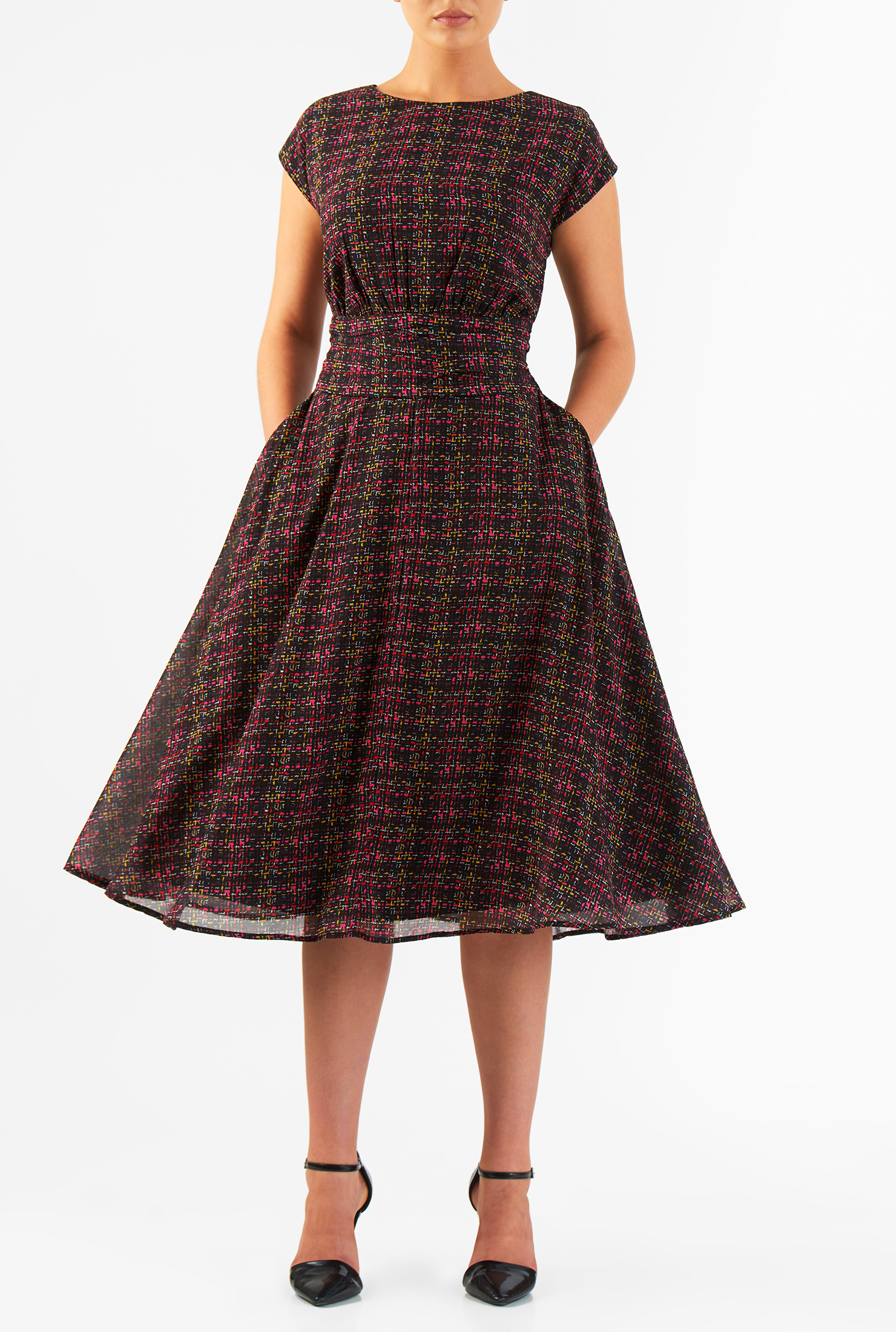 eShakti Women's Tweed print pleated empire georgette dress
