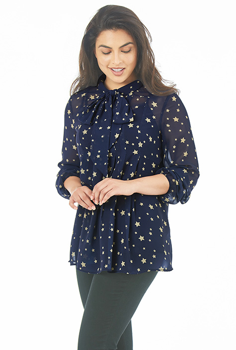 eShakti Women's Star print georgette tie neck pleated top