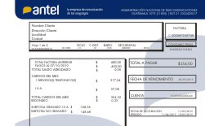 Factura impresa de Antel cuestan $29 desde este jueves