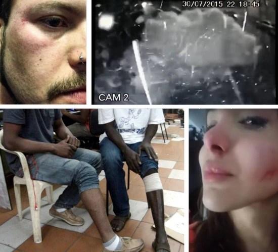Cenas do ódio. Passageiro do Uber agredido (esq.); bomba no Instituto Lula; transexual atacada em SP; haitianos baleados, também em SP