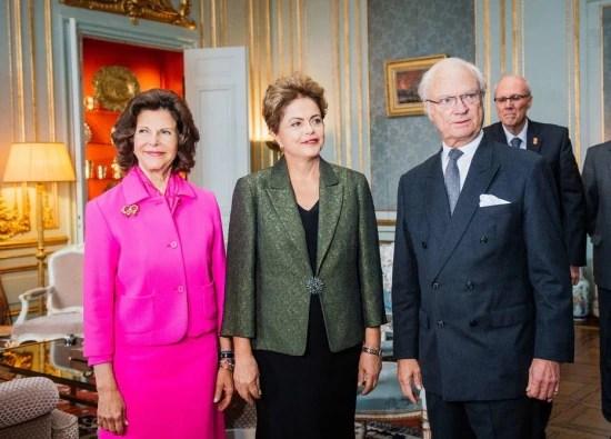 Em Estocolmo, Dilma conheceu o rei e a rainha da Suécia, Carl Gustaf e Silva neste domingo