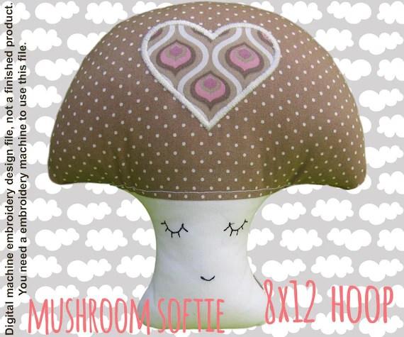 Mushroom softie - 8x12 hoop - ITH - In The Hoop - Machine Embroidery Design File, digital download