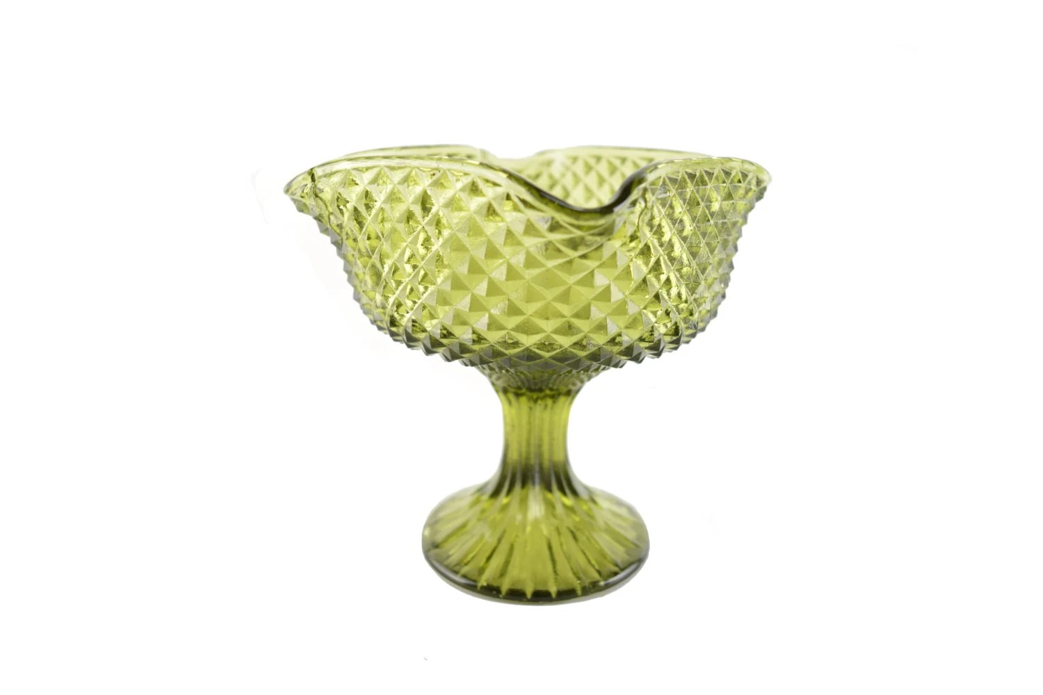 Vintage Green Pedestal Candy Dish Glass Compote Bowl