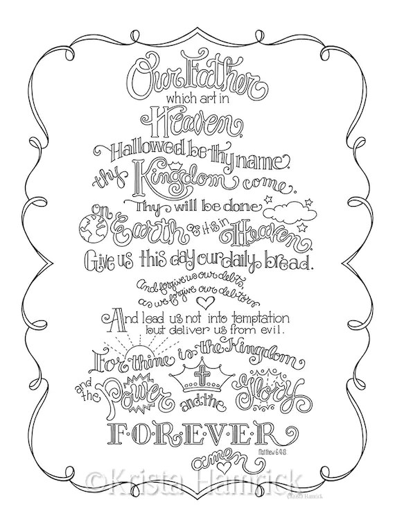 Lord S Prayer Coloring Pages