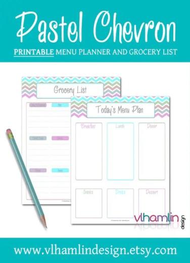 Pastel Chevron | Printable Menu Planner and Grocery List | VLHamlinDesign.com