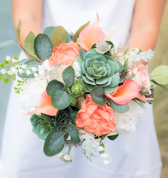 Succulents Coral Peach Silk Real Touch Wedding Bouquet