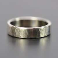 Men's 5mm White Gold Hammered Wedding Band 14K Palladium