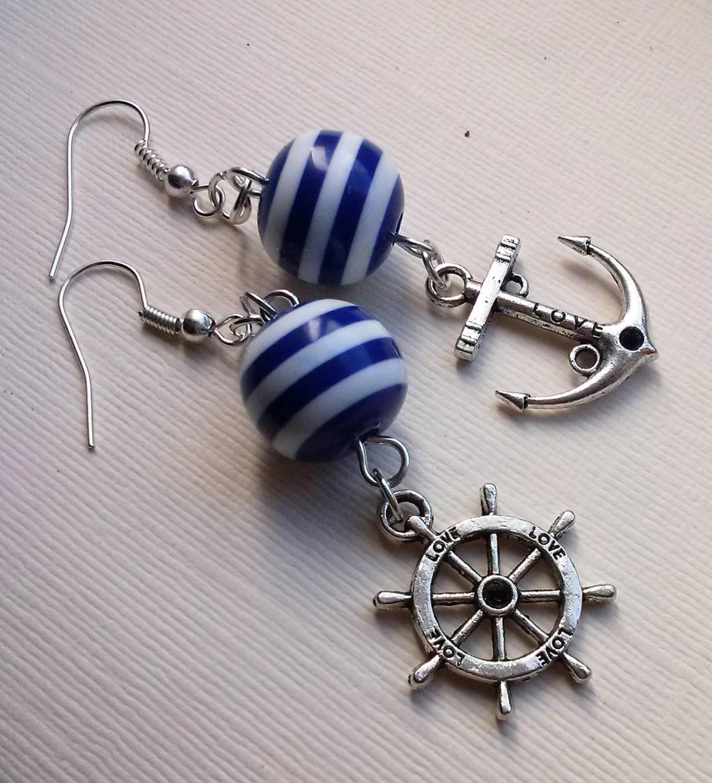 Nautical Earrings Striped Earrings Blue Earrings