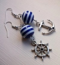 Nautical Earrings Striped Earrings Blue Earrings