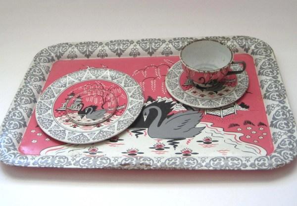 Ohio Art Metal Tray Tea Set Swans Pink Tin Tray Litho 1956