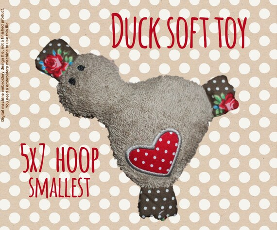 5x7 hoop - smallest version - Cute duck soft toy - In The Hoop - Machine Embroidery Design File, digital download