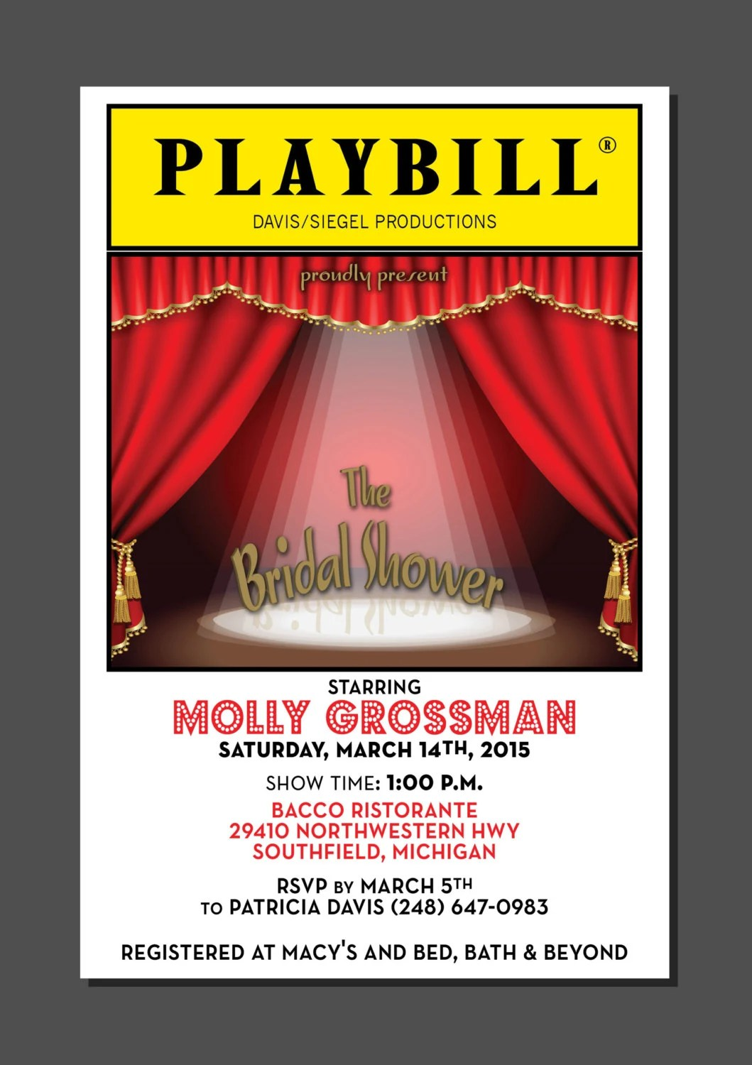 PLAYBILL Theater Wedding Bridal Shower Broadway New York