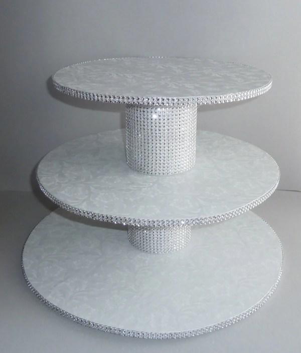 3 Tier Bling White Wedding Cake Cupcake Stand Tower Display