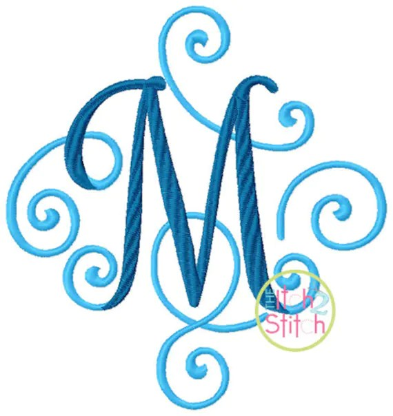 Elegant Scroll Two Color Large Embroidery Font 6