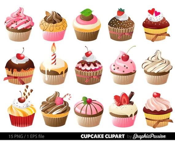 cupcakes clipart digital cupcake