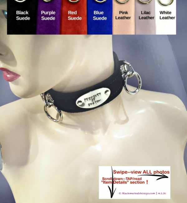 Bdsm Collar With Oval Engraved Slave Tag And 2 Rings Lockable