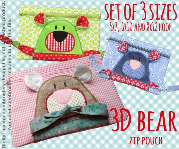 3D bear Pouch - SET for 5x7, 6x10 and8x12 hoop - ITH - In The Hoop - Machine Embroidery Design File, digital download