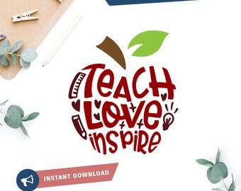 Download Teacher apple svg   Etsy
