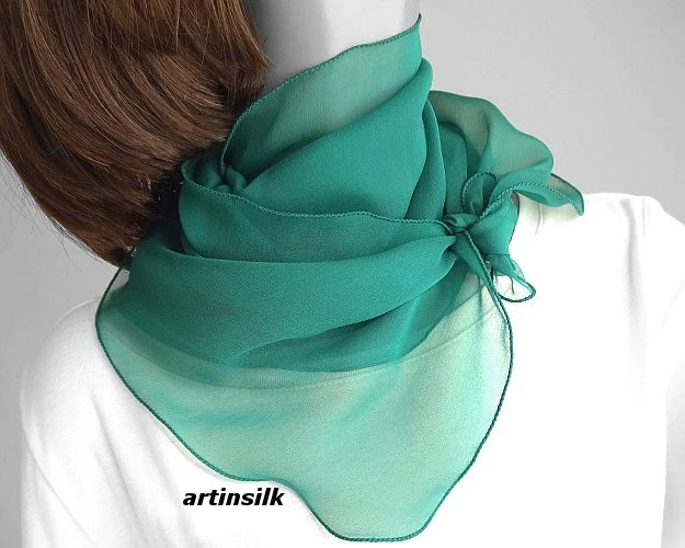 teal emerald small neck scarf sheer
