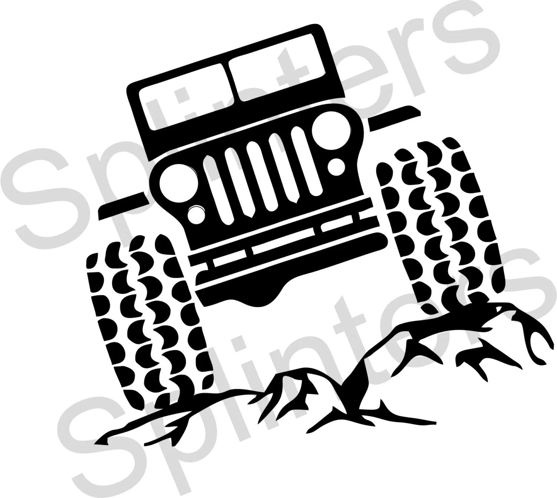 Jeep on the rocks SVG File