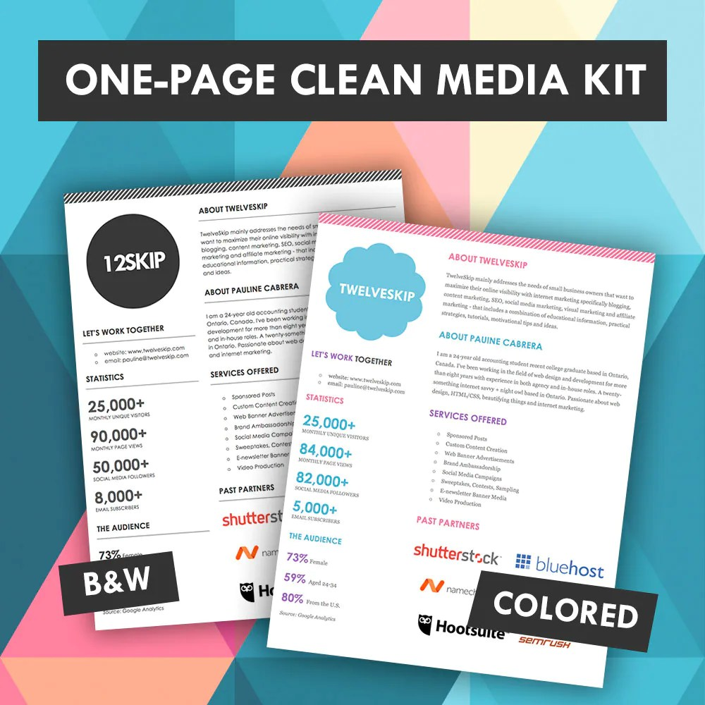 Quick One Page Media Kit Template Press Kit Media Kit