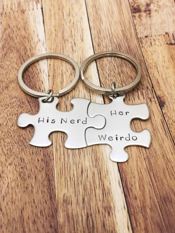 His Nerd Her Weirdo Keychains Geek Gift Geek Boyfriend