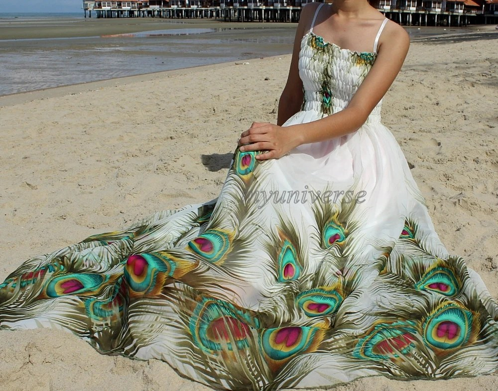 Peacock Maxi Dress Plus SIze Clothing Wedding Gown Bridesmaid
