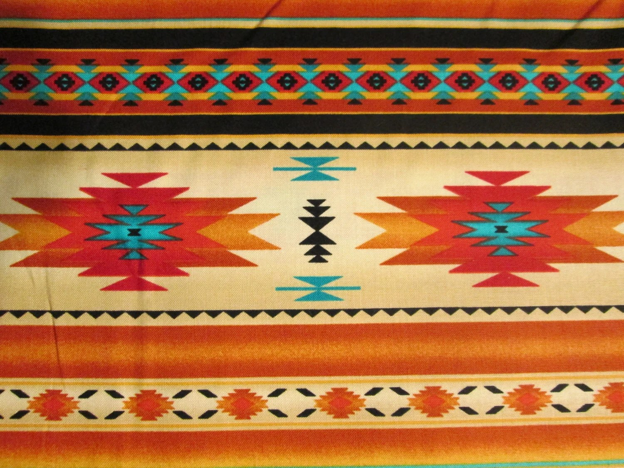 Native American Traditional Navajo Gold Teal Border Cotton Fat