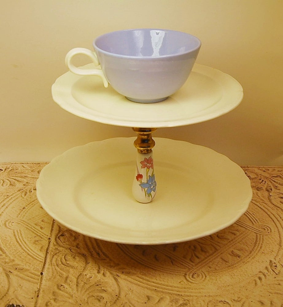 Tea Party Cake Stand Baby Blue White 3 Tier Tiered Serving