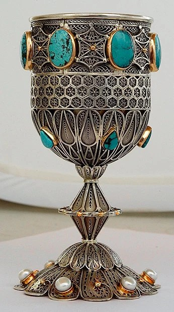 Kiddush cup  goblet sterling silver and solid gold