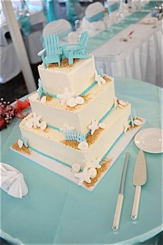 aqua adirondack chairs countertop height kitchen beach wedding cake topper 2 mini in 6