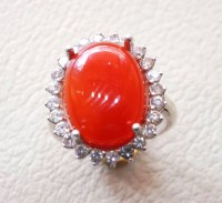 carnelian red aqeeq agate ladies ring red cabochon oval stone