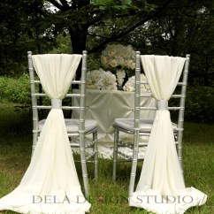 Chair Back Covers Wedding Zen Hanging 2 X Chiffon Sash White Cream