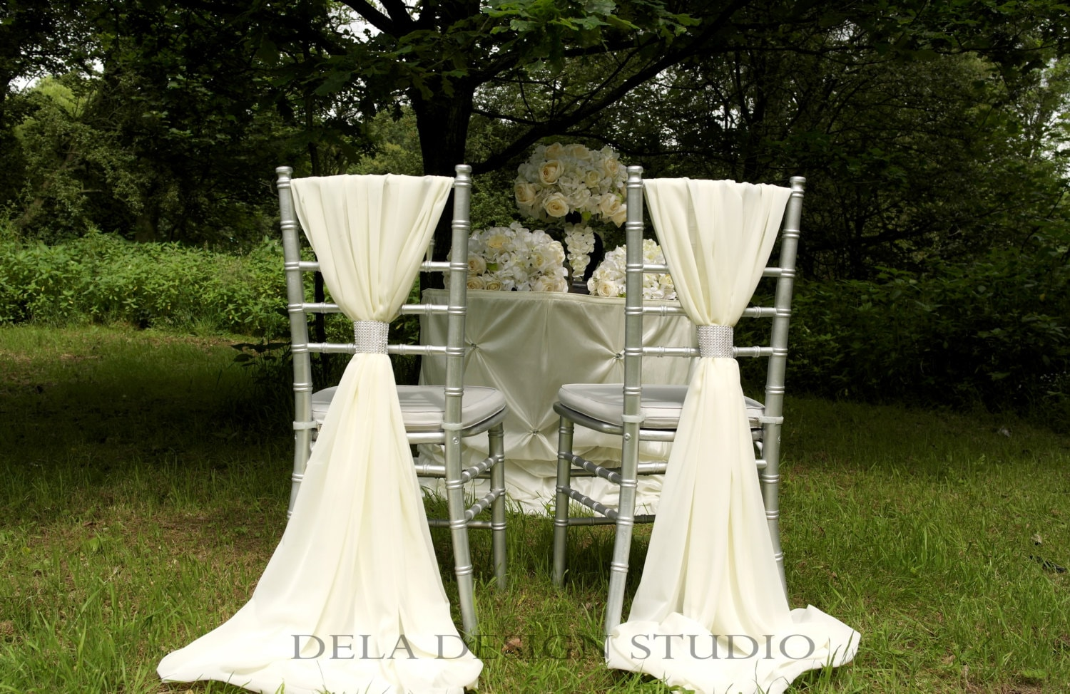 chair back covers wedding navy blue leather dining chairs 2 x chiffon sash white cream