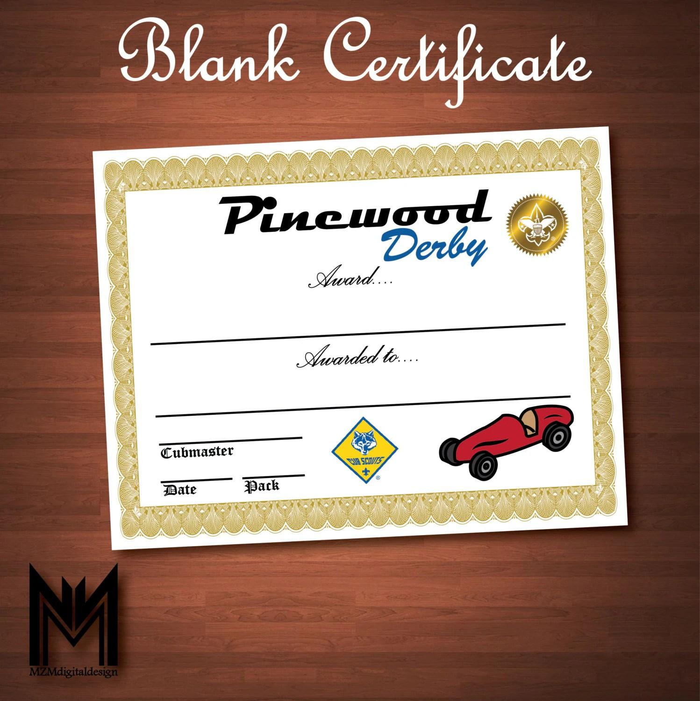 Printable Blank Pinewood Derby Certificate Bsa Cub Scout