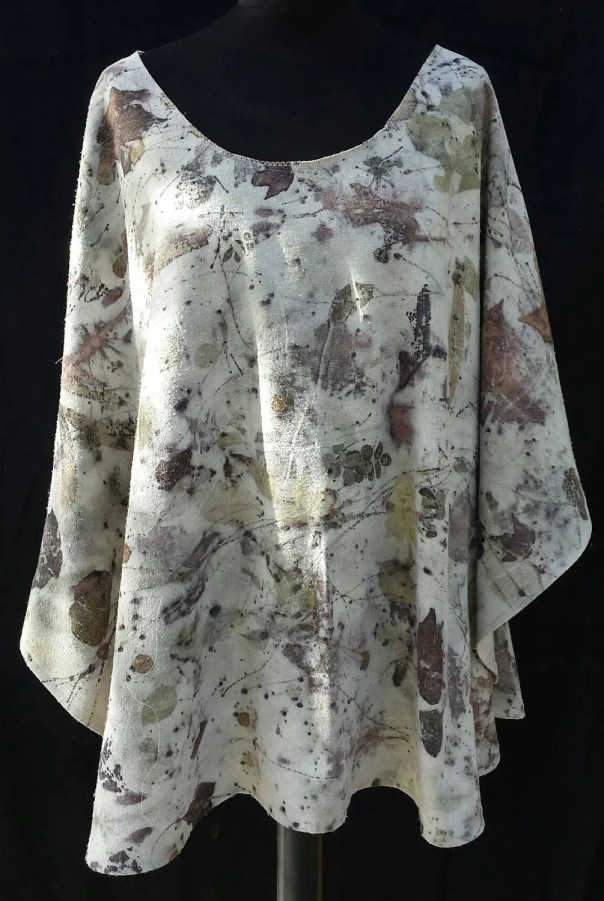 Nature's poncho, shrug, cape, unique hand crafted & eco printed on Silk Noil by artist, renewable, Sustainable, all natural leaf designs