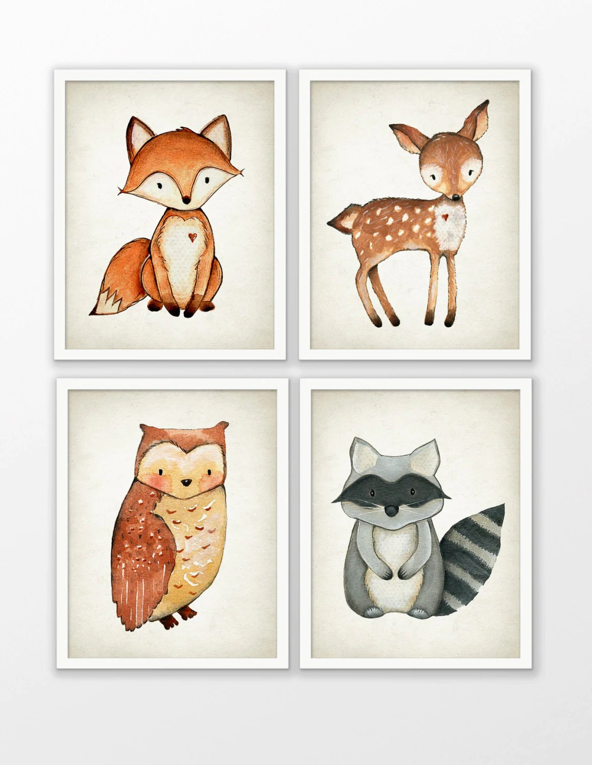 Woodland Watercolor Animals Nursery Prints Set Of 4 Fox Deer