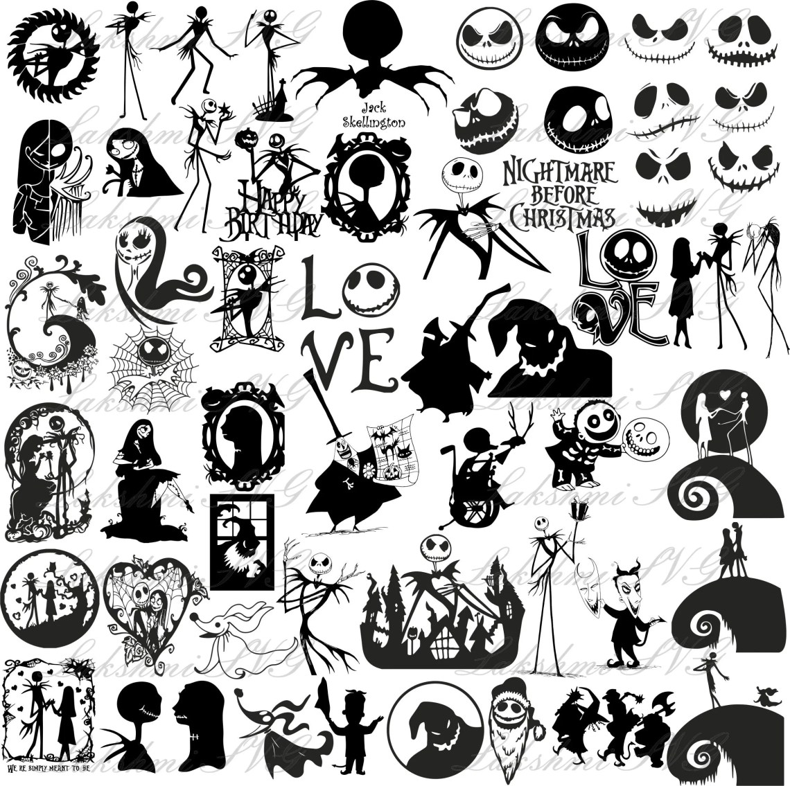 Download 57 Nightmare Before Christmas Silhouette SVG Files for