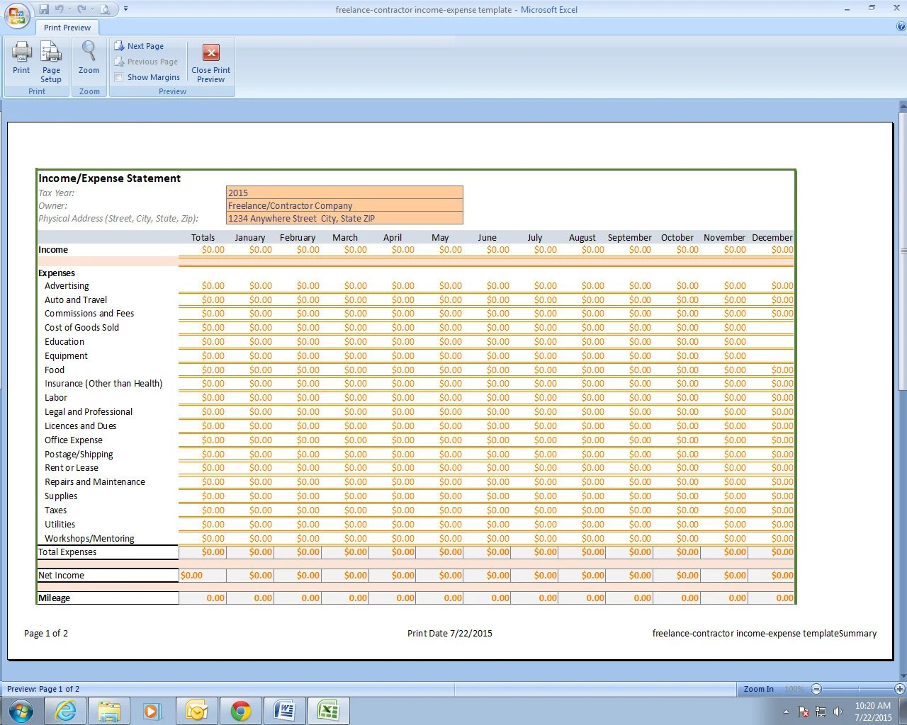 Freelance Photographer Income And Expenses Excel Spreadsheet