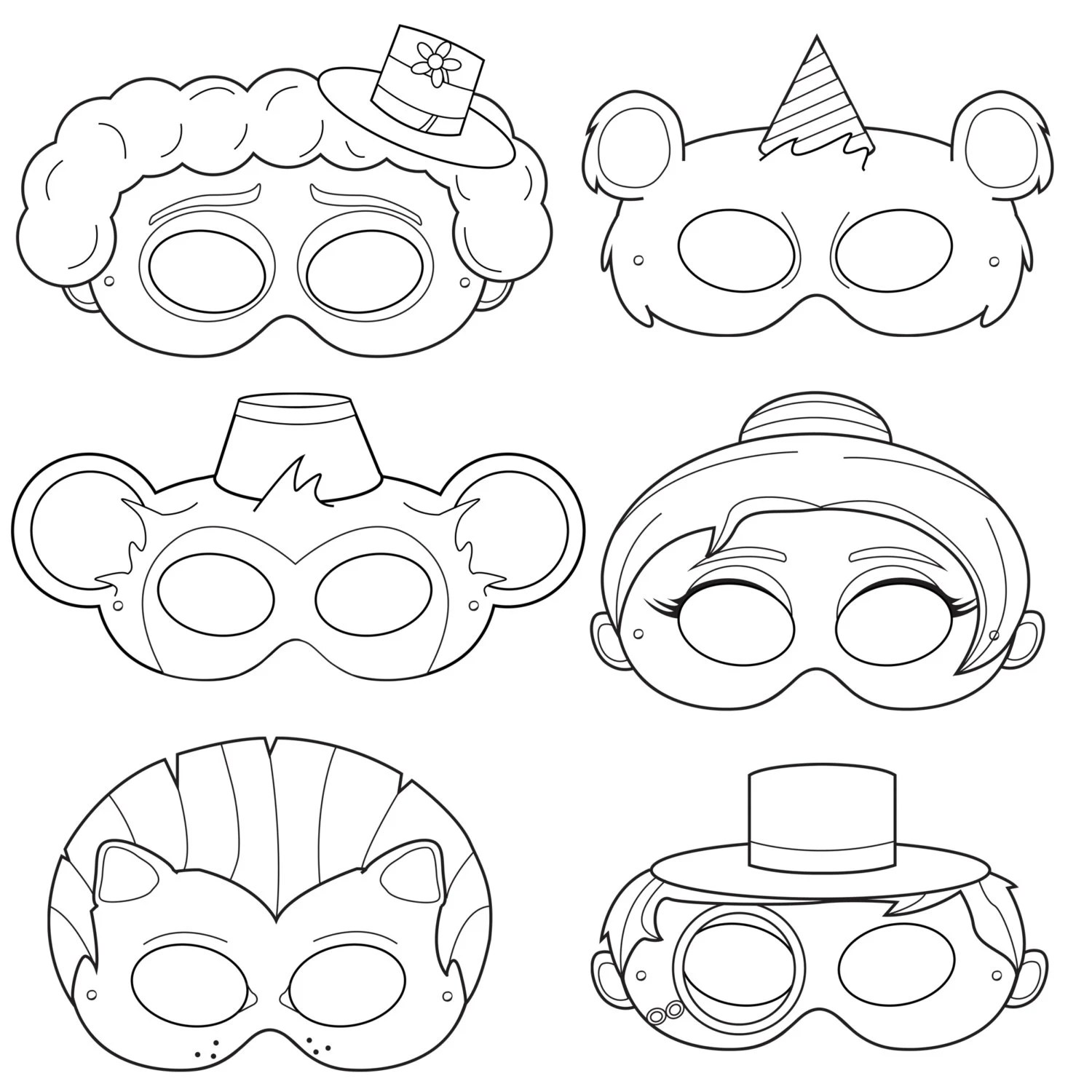 Circus Printable Coloring Masks clown mask bear mask