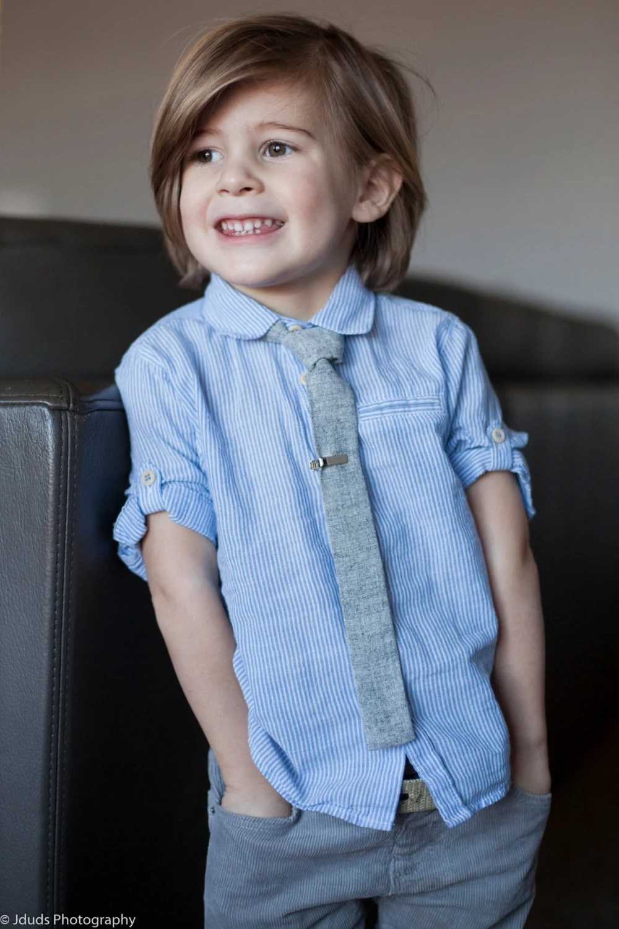 Boys flat bottom skinny tie kids necktie gray texture