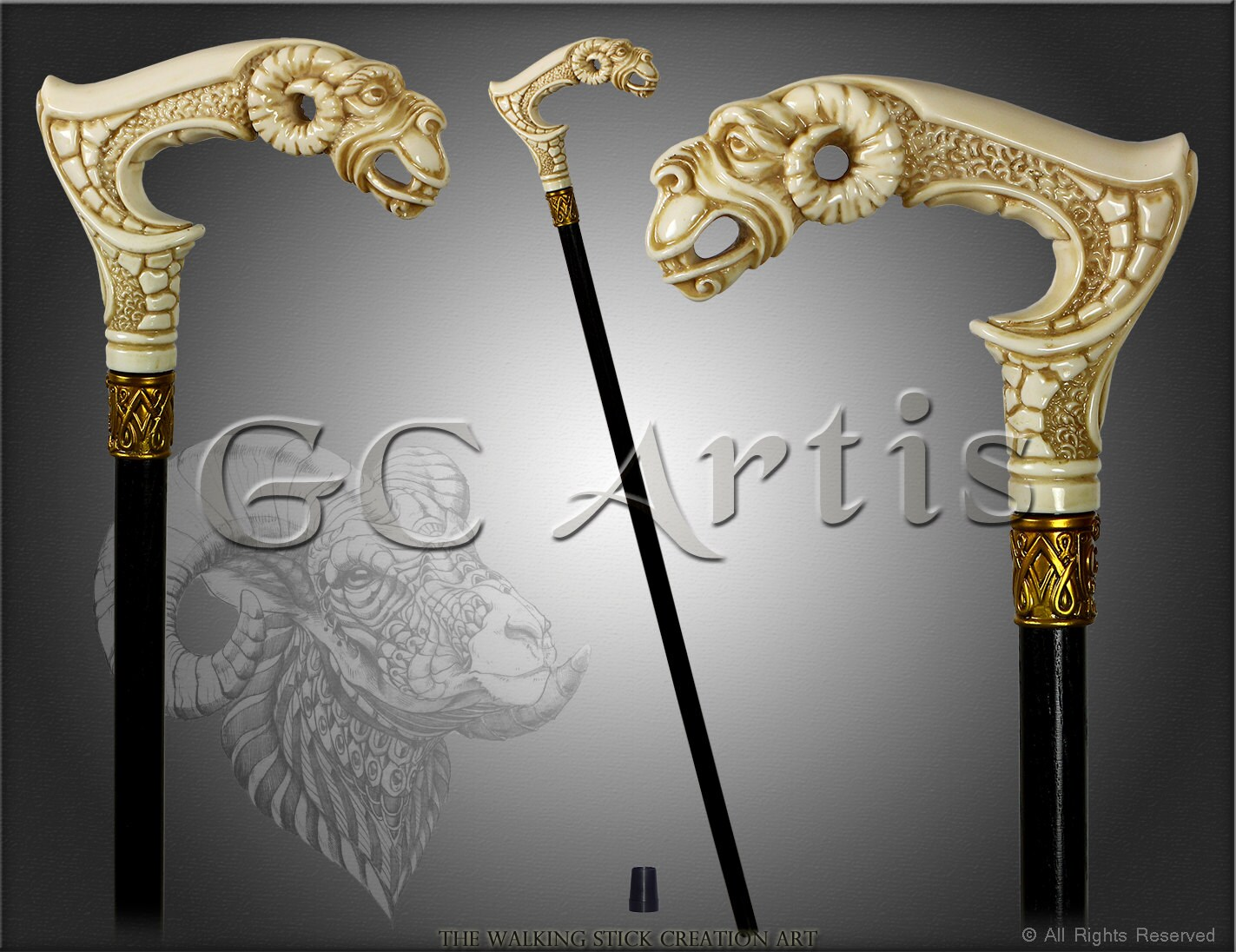 Ram Ivory Color Walking Stick Cane Hand Casted Of Art
