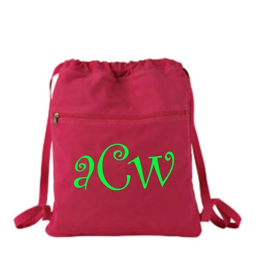 monogrammed cinch sack