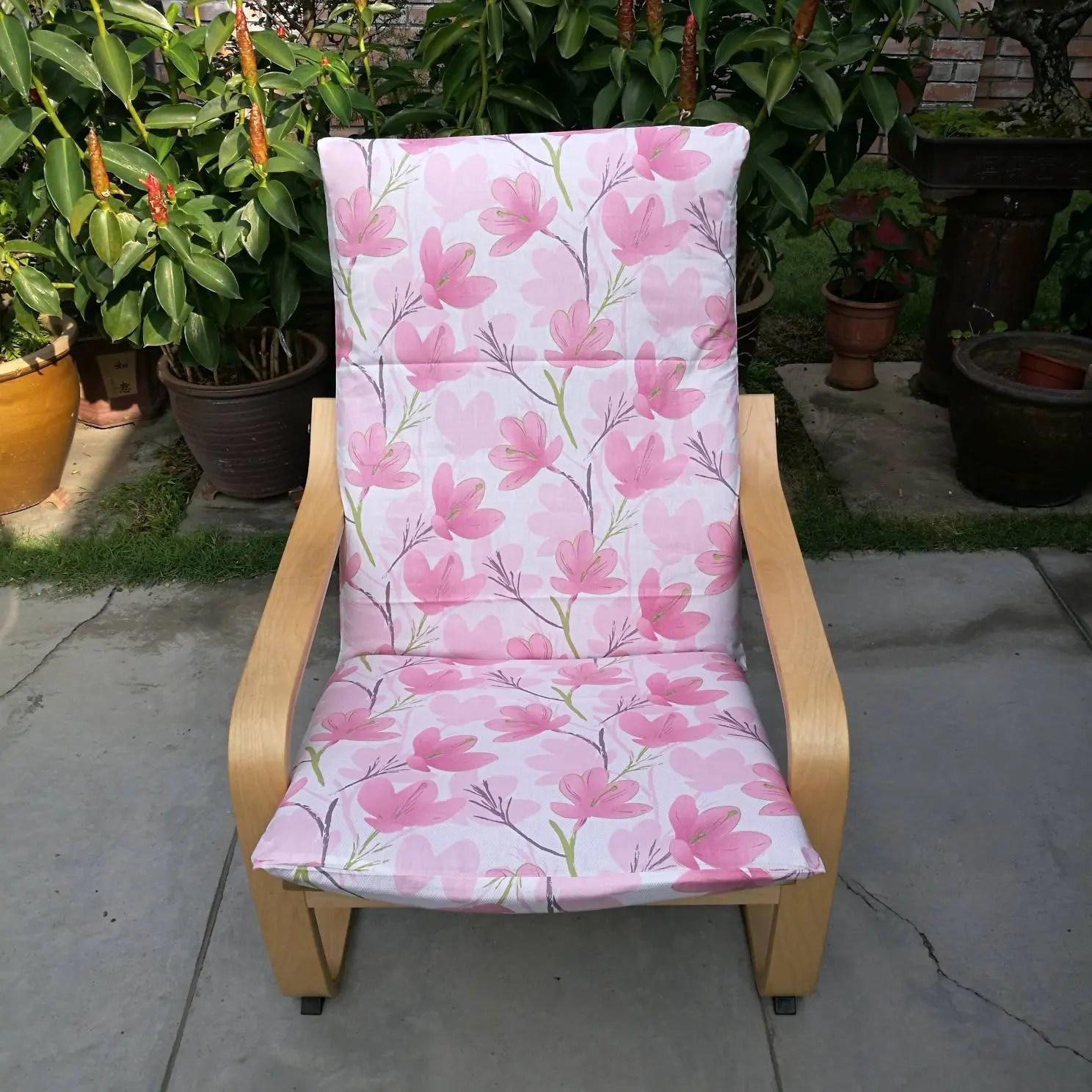 pink chair covers ikea stacking chairs outdoor poang cushion cover floral print