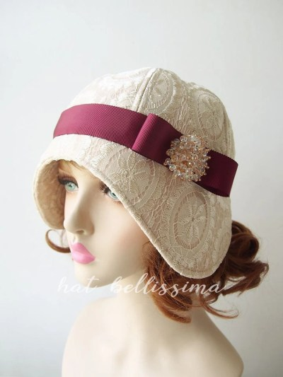 d1a7a670 Vintage Style Womens Hat 1920 S On Etsy Cloche Ivory Hat - Interior ...