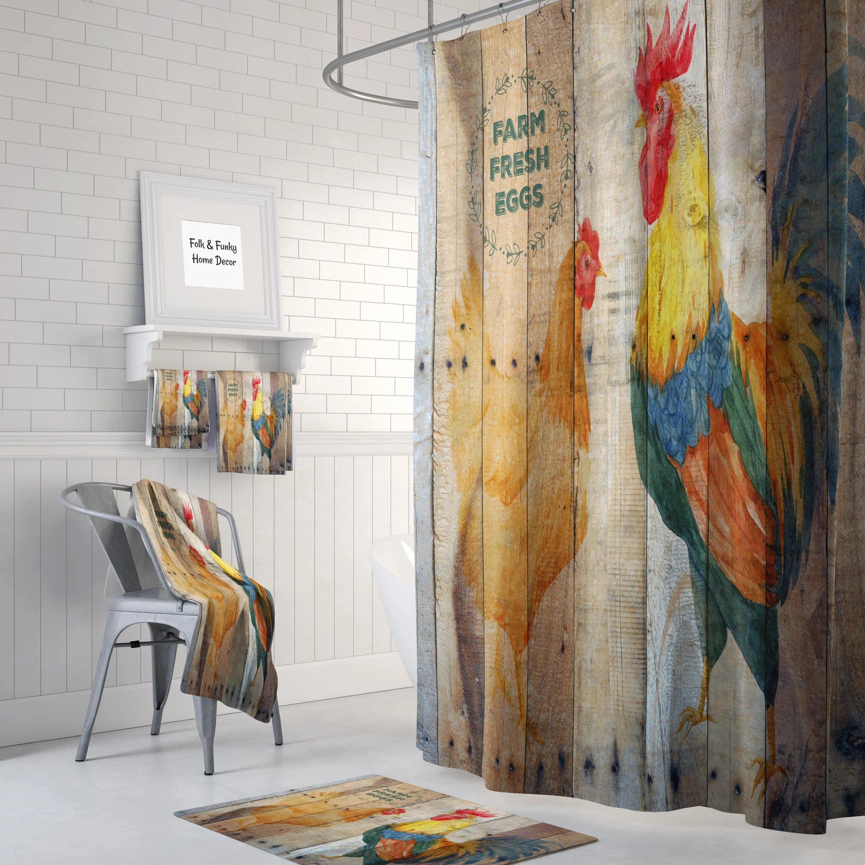 Farmhouse Primitive Rustic Fresh Eggs Chicken Rooster Barn Wood Shower Curtain