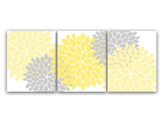 Home Decor Wall Art Yellow And Gray Flower Burst Art Canvas