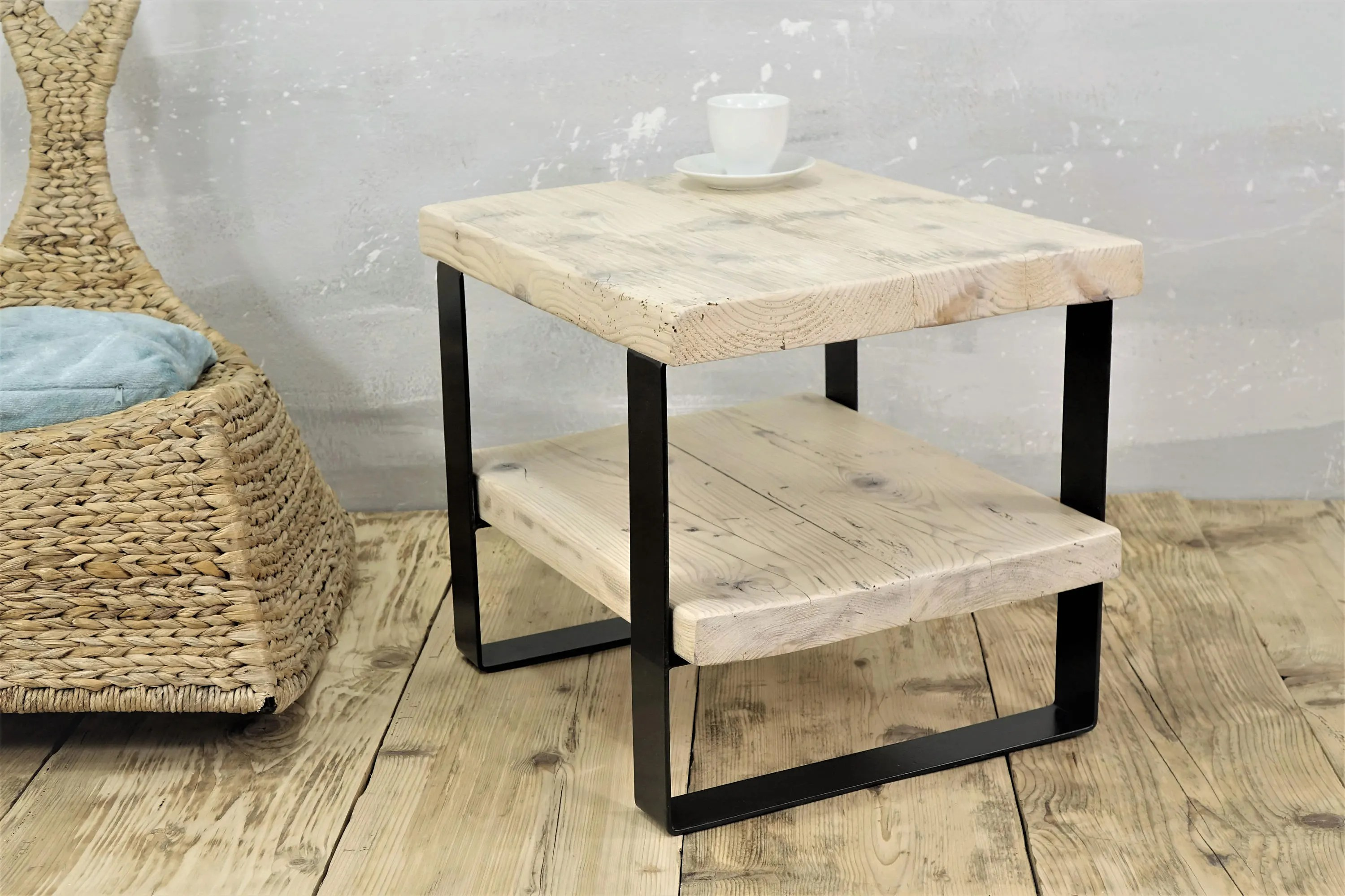 White Wood Side Table Reclaimed Wood Side Table Two Level