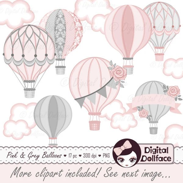 hot air balloon baby shower digital
