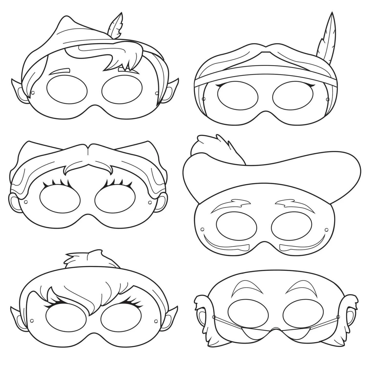Peter Pan Printable Coloring Mask peter pan captain hook